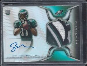 JORDAN MATTHEWS 2014 TOPPS PLATINUM REFRACTOR RPA EAGLES LOGO PATCH AUTO RC