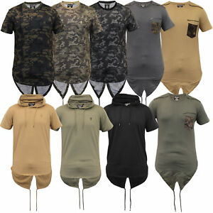 mens long line hooded top camouflage military fish tail T Shirts by Soul Star