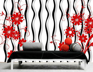3D Red Flower Pattern 76 Wall Paper Decal Dercor Home Kids Nursery Mural  Home