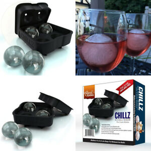 Chillz Ice Ball Maker Mold - Black Flexible Silicone Tray - Molds 4 X 4.5cm...