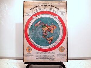 Gleason#x27;s New Standard Map Of The World Flat Earth circa 1892 Poster A3 Print