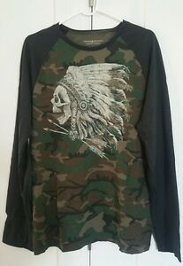 Denim & Supply Ralph Lauren Men Camo Indian Skull Baseball Tee T-Shirt rare