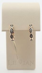 New Authentic LeVian ZUKG 45 14kt Rose Gold Chocolate Diamond Earrings