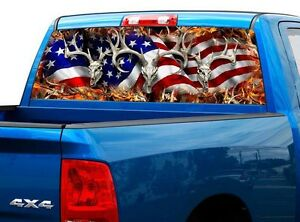 P443 American Flag Deer Rear Window Tint Graphic Decal Wrap Back Truck Tailgate