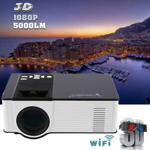 HD 1080p 3D Wifi LED Projector Home Theater Cinema Business Data Show Digital US