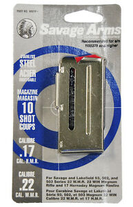 Savage 90019 Factory Mag for model 93 Series 22 WMR17 HMR 10 rd Stainless