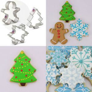 Christmas  Holiday Cookie Cutter Set - 3 Piece - Snowflake Gingerbread Man...