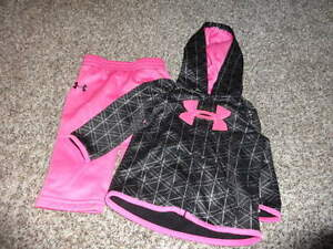 UNDER ARMOUR 3-6 PINK BLACK ZIP HOODIE PANT SET