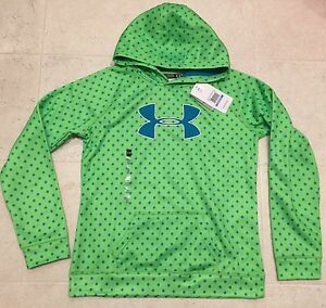 New Under Armour Youth Kids Girl Xlarge $40 Loose Hoodie Pullover Top Green Teal