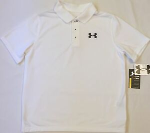 NWT youth Boys' YLG large UNDER ARMOUR knit POLO heatgear GOLF shirt White UA