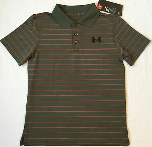 NWT youth Boys' YMD medium UNDER ARMOUR knit POLO heatgear GOLF shirt GREEN
