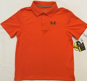 NWT youth Boys' YLG large UNDER ARMOUR knit POLO heatgear GOLF shirt ORANGE UA