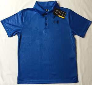 NWT youth Boys' YLG large UNDER ARMOUR knit POLO heatgear GOLF shirt BLUE UA