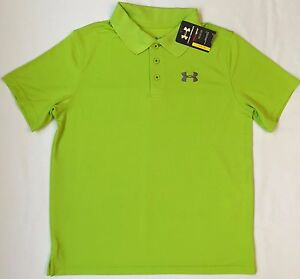 NWT youth Boys' YLG large UNDER ARMOUR knit POLO heatgear GOLF shirt GREEN UA