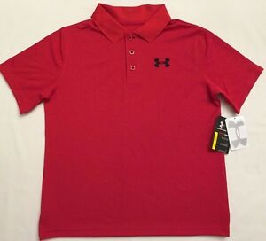 NWT youth Boys' YSM small UNDER ARMOUR knit POLO heatgear GOLF shirt RED