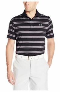 Under Armour Men's Groove Stripe Polo Shirt UA Elegant Fashion Black XL Size