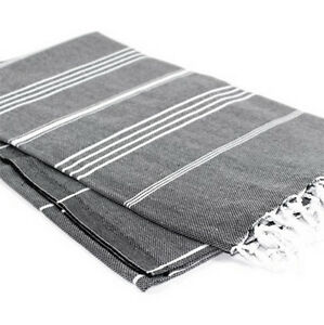 Black with Grey Stripes Turkish Towel