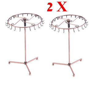 2X Jewelry Tree Rotating Ring Display Holder Organizer Bracelet Necklace Rack BP