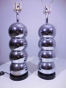 2 Original 70's Kovacs Stacked Chrome Ball Lamps Vintage Mid Century Modern