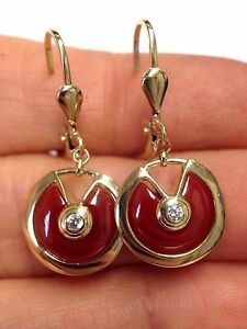 Elegant Natural Red Carnelian 14k Yellow Gold Amulet Drop Earrings  NEW
