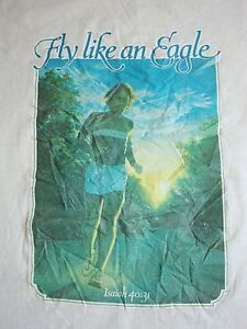 Vintage Fly an Eagle Isaiah 40:31 Bible Christian Running 80's Ringer T Shirt M