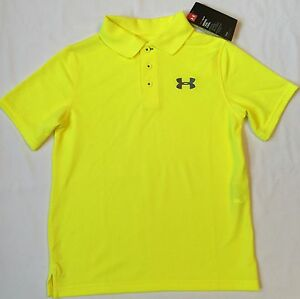 NWT youth Boys' YXL X-large UNDER ARMOUR knit POLO heatgear GOLF shirt yellow UA