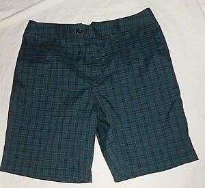 Men's Under Armour Shorts Golf Chino Shorts BlueBlk Plaid Size-34 EUC!