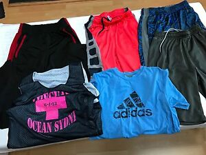 LOT OF 6 ACTIVEWEAR MEN'S ADIDAS PANTS SHIRT DRY-FIT SHORTS YOUTH SIZE L 13 - 14