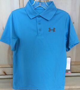 NWT UNDER ARMOUR BOY'S SHORT SLEEVE GOLF POLO SHIRT PRETTY BLUE SIZE S HEATGEAR