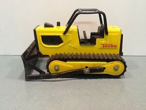 Vintage 1970s Yellow Tonka T-6 Bulldozer Pressed Steel Construction Vehicle Toy