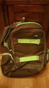 Unisex The North Face chocolate brown and lime green daytime backpack