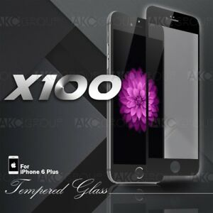 100x Black Full Cover Tempered Glass Screen Protector For IPhone 6S 6 Plus 5.5