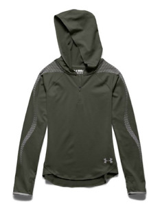 NWT $64 Girl's Under Armour Fitted Coldgear Reflective Green Hoodie Shirt YSM S