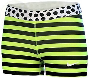Nike Womens Pro 3 Stripe And Dot Compression Dri Fit Shorts-Medium-Yellow New
