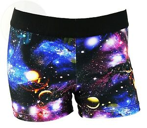 Womens 3 Inch Spandex Compression Shorts Galaxy X-Small New Free Shipping