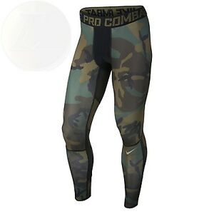 Nike Mens Pro Combat Hypercool Woodland Compression Tights New Free Shipping