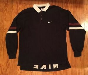 Vintage Nike Swoosh JUST DO IT Mens Sport  Rugby Polo Shirt Large Spell Out LS