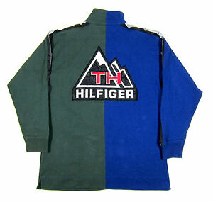 90S VTG TOMMY HILFIGER OUTDOORS GEAR 3M BIG LOGO RUGBY POLO SHIRT 1992 SPORT NYC