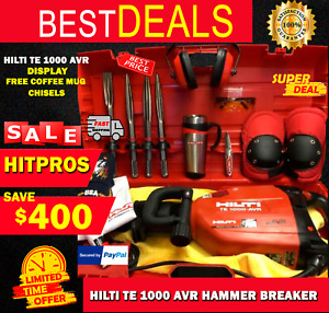 HILTI TE 1000 AVR, DISPLAY, FREE COFFEE MUG, CHISELS, FAST SHIP