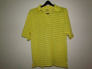 NIKE GOLF  Men's XL Dry Fit  Golf Shirt - Bright Yellow with White Strips