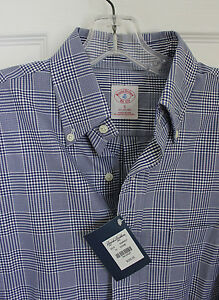 NWT $225 Brooks Brothers Men's Plaid Cotton Sport Shirt Size S slim Made in USA