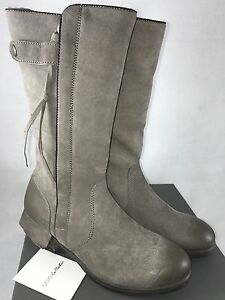 UGG COLLECTION ENNA GRIGIO WOMENS Gray Grey TALL LEATHER SHEARLING MOTO BOOTS