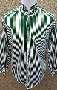 Brooks Brothers Sport Shirt Green & White Stripe Long Sleeve Size Mens Small