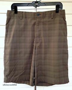 ⛳️ Nike Golf Fit Dri SHORTS Flat-Front Poly Performance Swoosh Tan ~ Men's 33