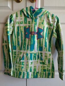 Girl's Youth Size Large Under Armour Blue Green Tie Dye Hoodie Sweatshirt
