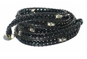 NEW CHAN LUU Mens Women Onyx Rock Roll Stone Bead Skull Leather Wrap Bracelet