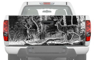 DEERS IN FOREST BW Tailgate Graphic Decal Sticker Truck camo pickup buck hunting