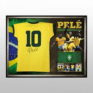 2014 FIFA WORLD CUP HAND SIGNED AND FRAMED PELE BRAZIL SOCCER SHIRT LIMITED