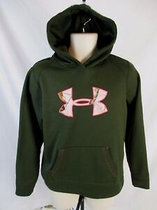 Under Armour Storm coldgear Girls L Green Pull Over Jacket Hoody Hoodie CB1H