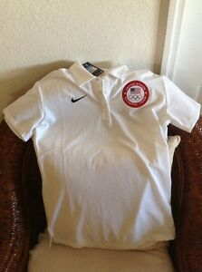 USA united states olympic team  Polo shirt nike dri fit White NWT Size M Womens